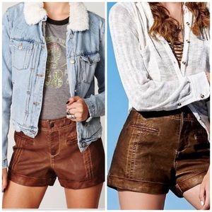 Free People Vegan Leather Brown Shorts 0